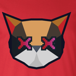 Cat Logo Graphic - Seven (on Red Tee)