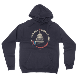 """Women Ran, Women Won"" Graphic (on Navy Blue Pullover Hoodie)"