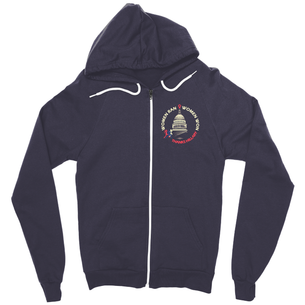 """Women Ran, Women Won"" Graphic (on Navy Zip-Up Hoodie)"