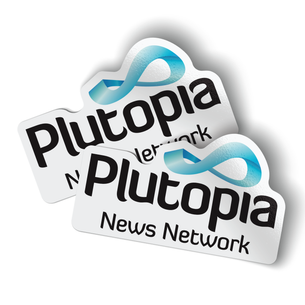 "Plutopia Logo (5"" x 3"" Vinyl Sticker -- Pack of Two!)"