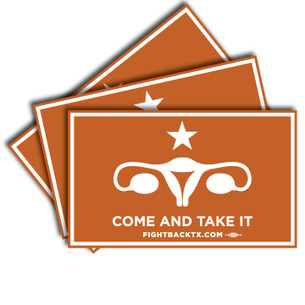 "Pack of 3 5"" x 3"" Come And Take It stickers, digitally printed with UV resistant inks on 3-year outdoor vinyl"