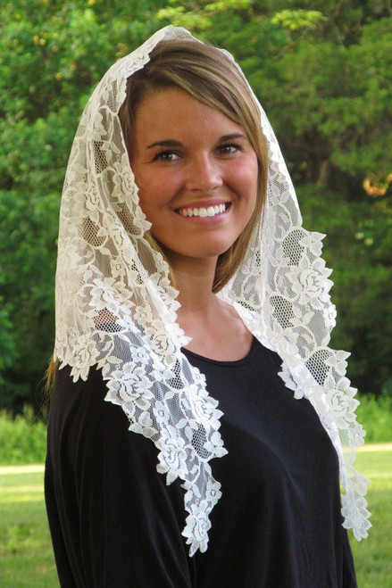 Floral Lace Mantilla with Longer Sides in Ivory