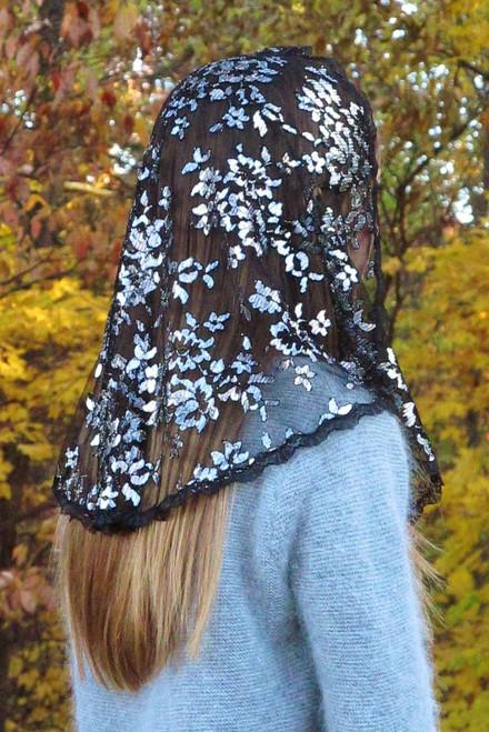 Black and Silver Metallic Chantilly Lace Mantilla Chapel Veil