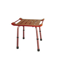 Adjustable Height Rectangular Teak Bath Bench Stool - rtl12351kdr