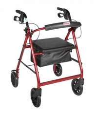 Red Rollator Walker with Fold Up Removable Back Support Padded Seat - r728rd