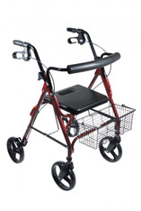 "DLite Red Rollator Walker with 8"" Wheels and Loop Brakes - 750nr"