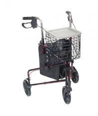 3 Wheel Flame Red Rollator Walker with Basket Tray and Pouch - 10289rd