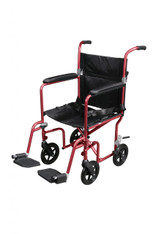 Flyweight Lightweight Red Transport Wheelchair with Removable Wheels - rtlfw19rw-rd