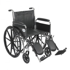 Chrome Sport Wheelchair with Detachable Full Arms and Elevating Leg Rest - cs20dfa-elr