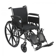 Cruiser III Light Weight Wheelchair with Flip Back Removable Full Arms and Elevating Leg Rest - k318dfa-elr