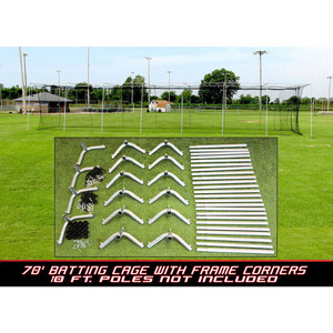 70x14x12 #24 Batting Cage Net and Frame Corners