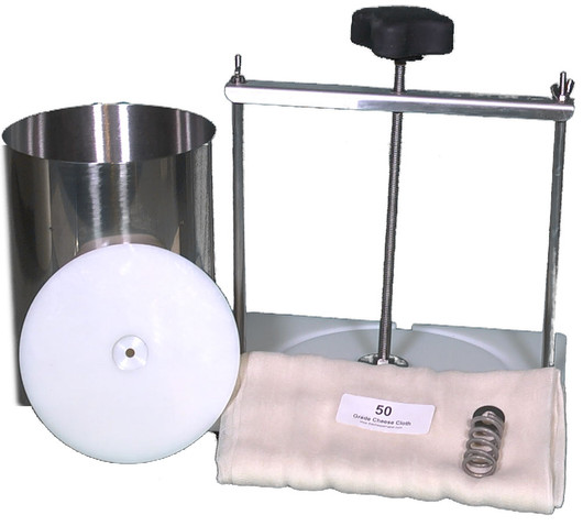 Six Gallon Capacity Cheese Press/Stainless Steel Hoop