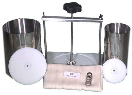 Two & Six Gallon Capacity Cheese Press/Stainless Steel Hoops