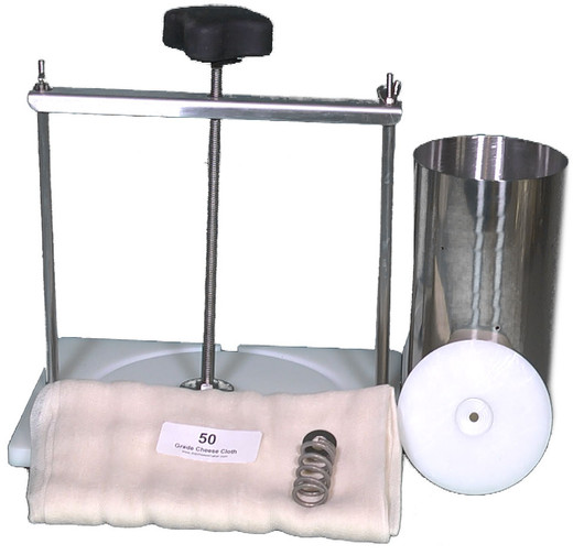 Two Gallon Capacity Cheese Press/Stainless Steel Hoop