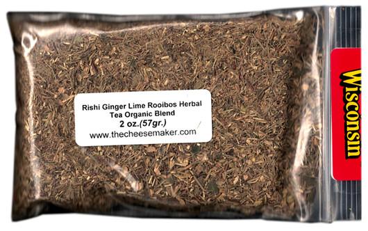 Rishi Ginger Lime Rooibos Caffeine Free Rooibos Blend Organic Tea