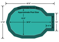 "15' 6"" x 34' 6"" Jewel with 4' x 8' Center End Step Loop-Loc II Super Mesh In-Ground Pool Safety Cover"