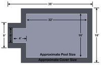 16' x 32' Rectangle with 4' x 6' Center End Step Loop-Loc II Gray Super Mesh In-Ground Pool Safety Cover