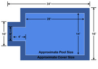 14' x 28' Rectangle with 4' x 8' Center End Step Loop-Loc II Blue Super Mesh In-Ground Pool Safety Cover
