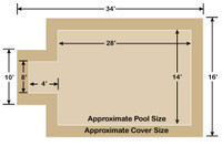 14' x 28' Rectangle with 4' x 8' Center End Step Loop-Loc II Tan Super Mesh In-Ground Pool Safety Cover