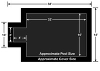 16' x 32' Rectangle with 4' x 8' Center End Step Loop-Loc II Black Super Mesh In-Ground Pool Safety Cover