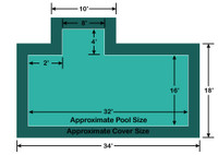16' x 32' Rectangle with 4' x 8' left 2' Offset Step Loop-Loc II Super Mesh In-Ground Pool Safety Cover