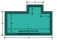 16' x 32' Rectangle with 4' x 8' right 1' Offset Step Loop-Loc II Super Mesh In-Ground Pool Safety Cover