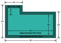 18' x 36' Rectangle with 4' x 8' Left Flush Step Loop-Loc II Super Mesh In-Ground Pool Safety Cover