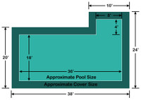 18' x 36' Rectangle with 4' x 8' Right Flush Step Loop-Loc II Super Mesh In-Ground Pool Safety Cover
