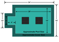 14' x 28' Rectangle with 4' x 8' Center End Step Ultra-Loc III Solid - Drain Panels In-Ground Pool Safety Cover