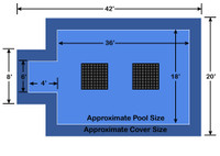 18' x 36' Rectangle with 4' x 6' Center End Step Ultra-Loc III Solid Blue- Drain Panels In-Ground Pool Safety Cover