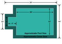 14' x 28' Rectangle with 4' x 8' Center End Step Ultra-Loc III Solid Green In-Ground Pool Safety Cover