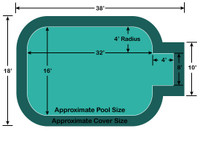16' x 32' Rectangle - Radius Corners with 4' x 8' Center End Step Loop Loc II Mesh In-Ground Pool Safety Cover