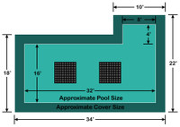 16' x 32' Rectangle with 4' x 8' Right Flush Step Ultra-Loc III Solid with Drains In-Ground Pool Safety Cover