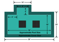 18' x 36' Rectangle with 4' x 8' Left 4' Offset Step Ultra-Loc III Solid with Drains In-Ground Pool Safety Cover