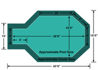 "16' 6"" x 34' 6"" Grecian with 4' x 8' Center End Step Loop-Loc II Super Mesh In-Ground Pool Safety Cover"