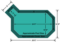 """16' 6"""" x 34' 6"""" Grecian with 4' x 6' Left Step Loop-Loc II Super Mesh In-Ground Pool Safety Cover"""