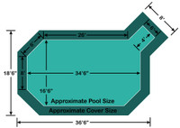 """16' 6"""" x 34' 6"""" Grecian with 4' x 6' Right Step Loop-Loc II Super Mesh In-Ground Pool Safety Cover"""