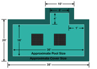 18' x 36' Rectangle with 4' x 8' Right 1' Offset Step Ultra-Loc III Solid with Drains In-Ground Pool Safety Cover
