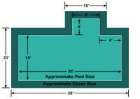 18' x 36' Rectangle with 4' x 8' Right 4' Offset Step Ultra-Loc III Solid In-Ground Pool Safety Cover