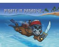 "Scuba Pirate in Paradise Flag - 12"" x 18"""