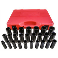 "26 Piece 1/2"" Drive 6 Point Metric Deep Impact Socket Set"