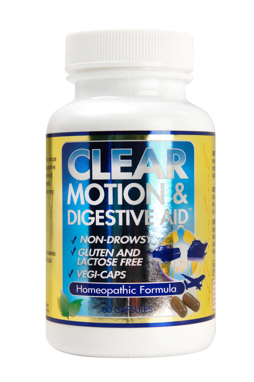 Clear Motion & Digestive Aid 60 capsule bottle  Homeopathic remedy for the relief of motion sickness and digestive distress.