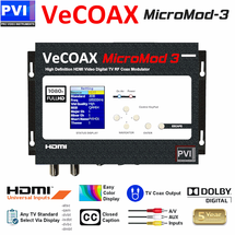 VeCOAX MicroMod-3 1080p Full HD Dolby Closed Caption & Aux Inputs Digital HD TV Modulator | Convert Any HDMI to an HDTV Channel and distribute to all TVs over coax