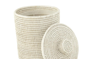 Small Rattan Bin with Lid and Liner - Light