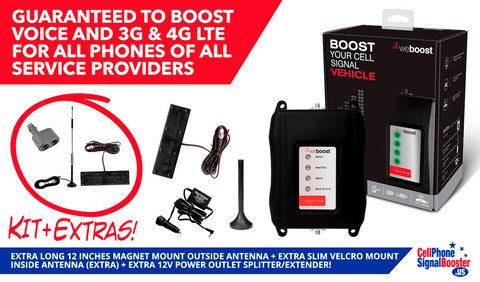 "weBoost Drive 4G-M for multiple wireless users with 12"" magnet mount outside antenna + Slim velcro mount inside antenna + 12V Power Outlet Splitter/ Extender!"