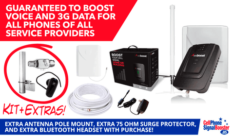weBoost Connect 3G Omni Antenna Booster Kit with Surge Protector, Antenna Pole, and Bluetooth Headset!