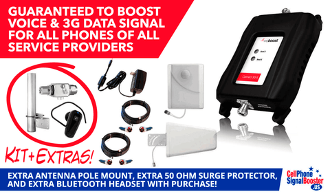 weBoost Connect 3G-X with Surge Protector, Antenna Pole, and Bluetooth Headset!