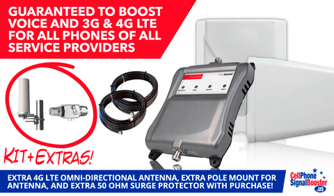 weBoost Connect 4G-X with Wideband 4G Omni Directional Antenna, Antenna Pole, and Surge Protector!