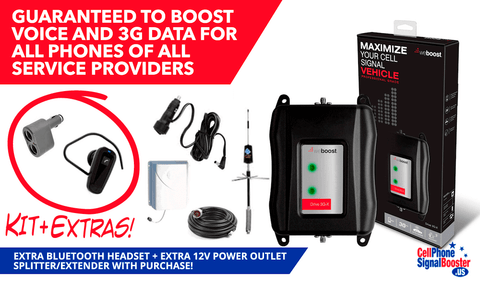weBoost Drive 3G-XR or 3G-X RV with Bluetooth Headset and 12 Volts Power Outlet Splitter/ Extender!