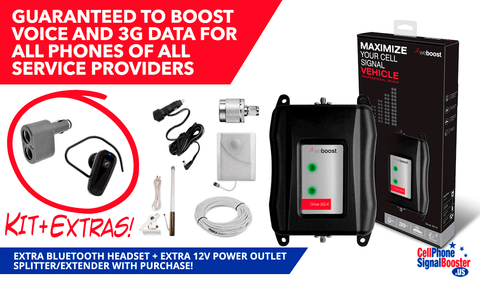 weBoost Drive 3G-XM Marine Booster Kit with Bluetooth Headset and 12 Volts Power Outlet Splitter/ Extender!